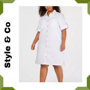 Plus Size Raw-Hem Denim Shirtdress White 24W